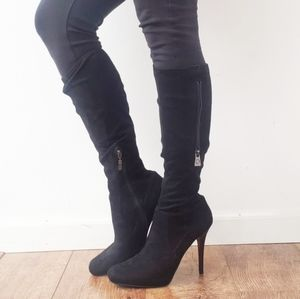 GUESS Suede Like Black Square Toe Heel Boots 9